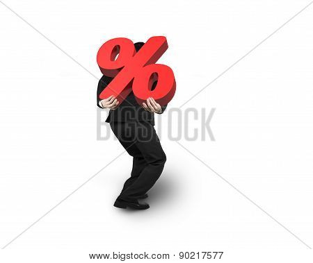 Business Man Carrying 3D Red Percentage Sign Isolated On White