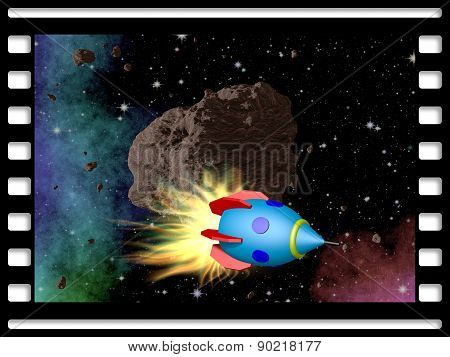 Film Frame With Asteroid And Rocket
