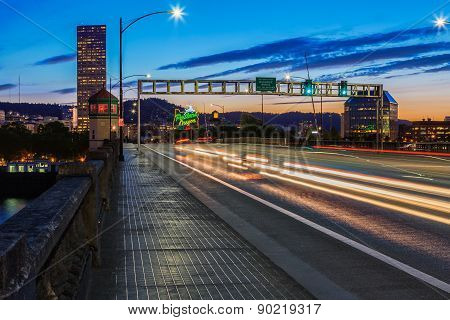 Portland, Oregon From The Burnside Bridge