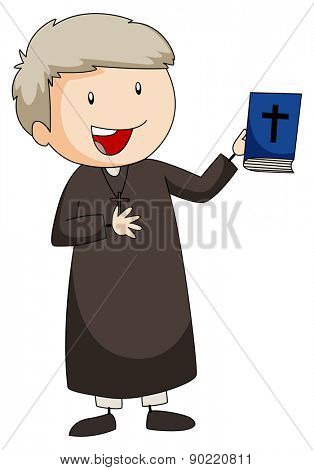 Closeup happy priest holding a bible