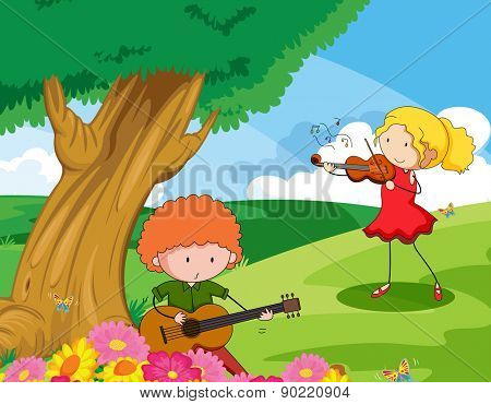 Two musician playing music instrument in the park