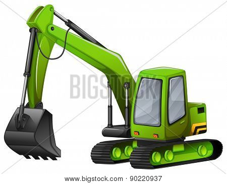 Closeup green excavator with giant shovel