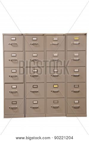 Rows Of File Cabinets With Blank Cards Isolated On White