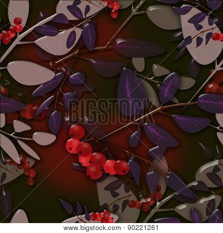 Seamless background pattern autumn leaves and rowanberry on black background glassy ef