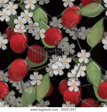 Seamless background pattern with cherry and bloom on black background glassy effect illustr