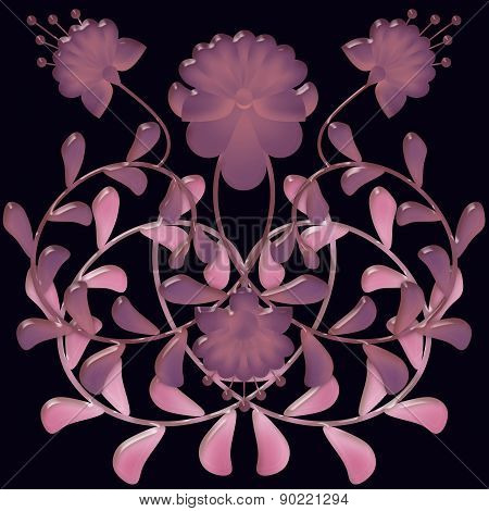Floral tile background with flowers glass effect illustration