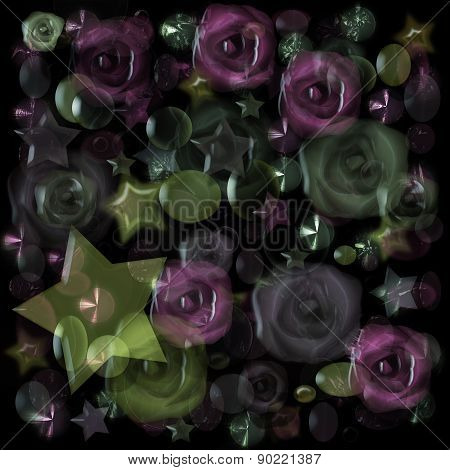 Floral pattern with stars background glass effect