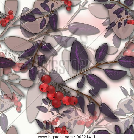 Seamless background pattern colorful autumn leaves and rowanberry on white background glassy ef