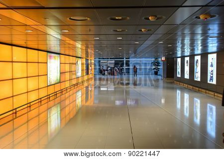 HONG KONG - MAY 06, 2015: Hong Kong International Airport. Hong Kong International Airport is the main airport in Hong Kong. It is located on the island of Chek Lap Kok.