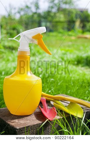 Garden Tools On Green Grass