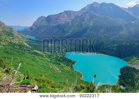 View Of The Grinnell Glacier And Lake From Above In Glacier National Park
