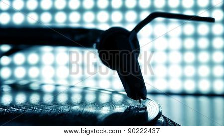 Dj Needle Stylus On Record, Blur Light Background