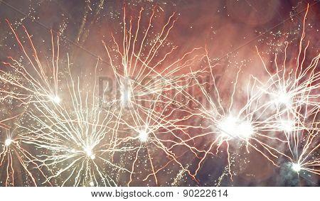 beautiful fireworks display at night