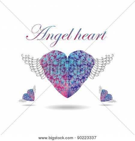Heart with wings on isolated background