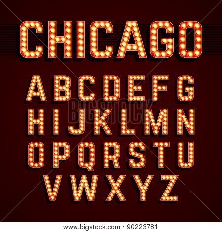 Broadway style light bulb alphabet. Vector.