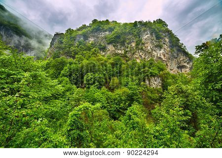Mountain Landscape In A Rainy Day