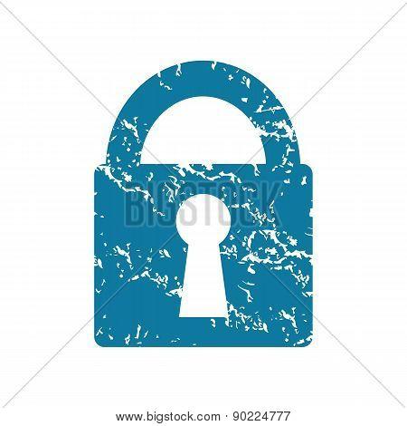 Closed padlock grunge icon