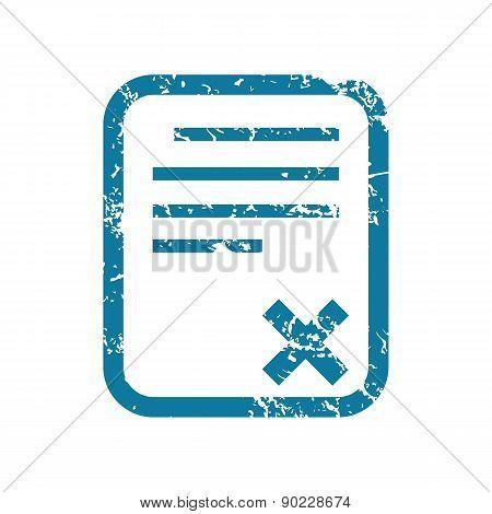 Grunge decline document icon