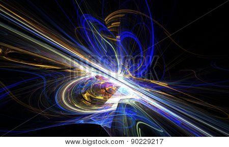Shining a fantastic line in a furious movement go beyond the horizon. Fractal art graphics