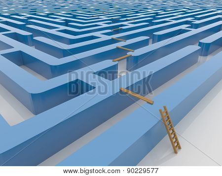 Maze Labyrinth 3D Render With Ladder And Planking