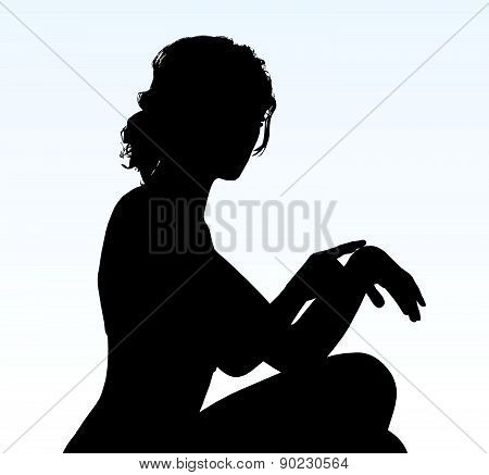 Woman Silhouette With Hand Gesture Reminding Time