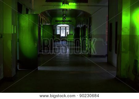 Hallway Of Abandoned Building In Green