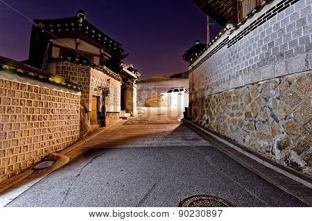 Bukchon Hanok historic district in Seoul at night, South Korea.