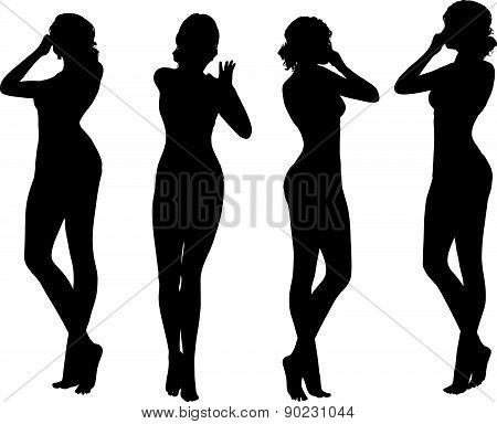 Woman Silhouette With Hand Gesture Holding Nose