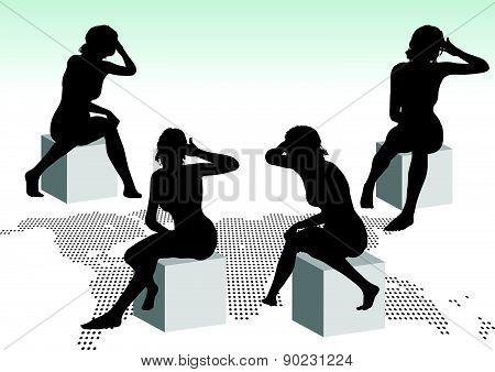 Woman Silhouette With Hand Gesture Headache