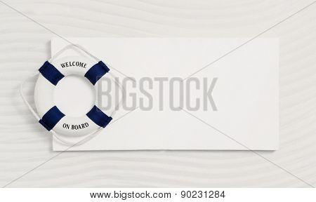 Summer maritime and nautical background in white and blue with a life-saver: Welcome on board