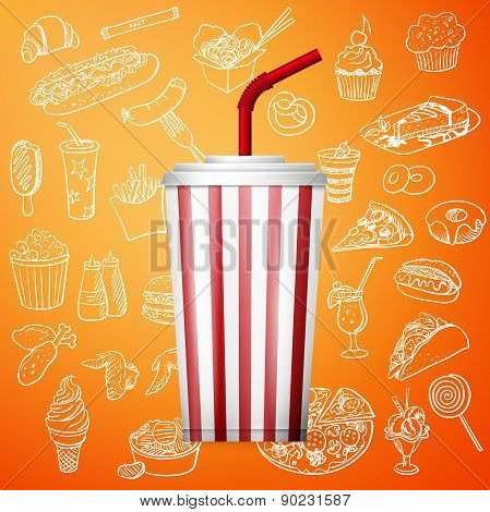 soda fountain drink and hand draw fast food icon