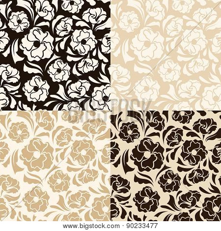 Set of four seamless beige and brown floral patterns. Vector illustration.