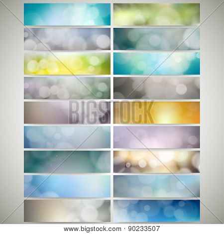 Blurry backgrounds set with bokeh effect. Web banners collection, abstract header layout templates,