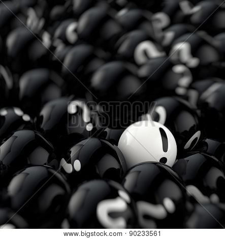 many black balls with question marks. 3d rendering