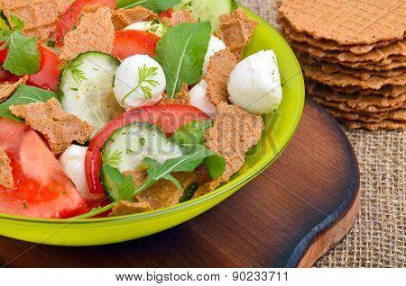 Fresh Salad Mozarella With Wafers, Tomatos, Cucumber And Arugula Leaves