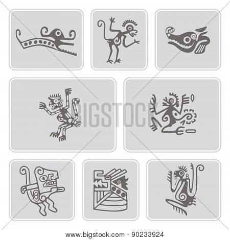 set of monochrome icons with American Indians relics dingbats characters (part 2)