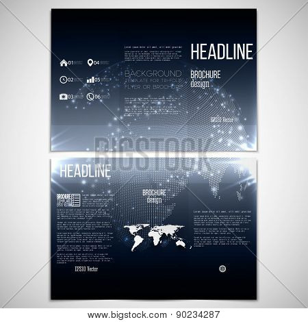 Vector set of tri-fold brochure design template on both sides with world globe element. Abstract fla