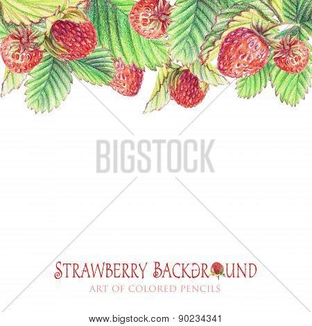 Background With Painted Strawberries.