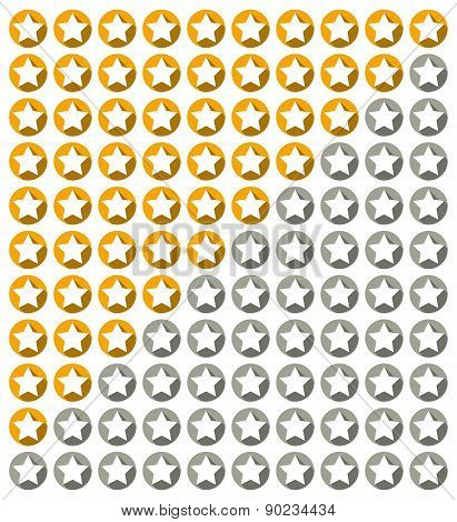 Star Rating System With Stars With Long Shadow In Circles