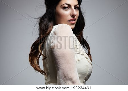 Portrait Of Atractive Plus Size Model Looking At Camera