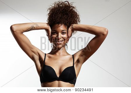Beauty Black Woman Closed Ears With Hands