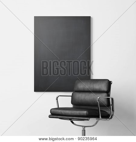 Blank black poster and chair. 3d rendering