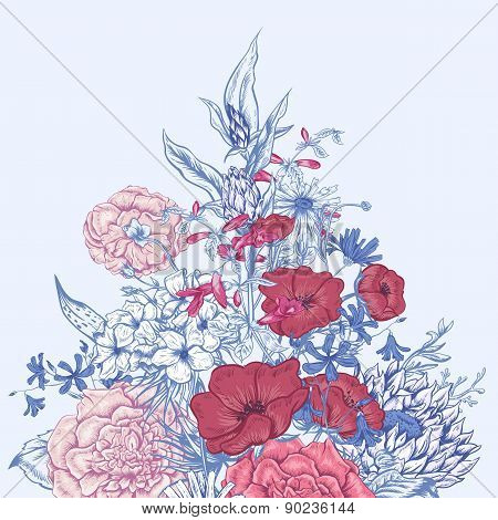 Gentle Retro Summer Floral Greeting Card, Vintage Bouquet, Vector illustration