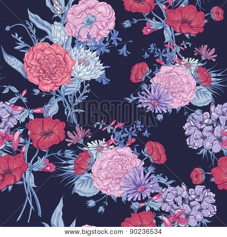 Gentle Retro Summer Seamless Floral Pattern, Vintage Greeting Bouquet, Vector illustration