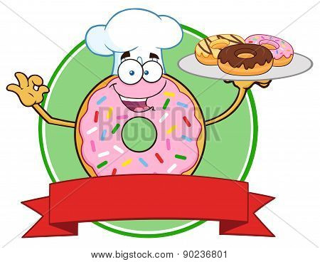 Chef Pink Donut Cartoon Character Serving Donuts Circle Label
