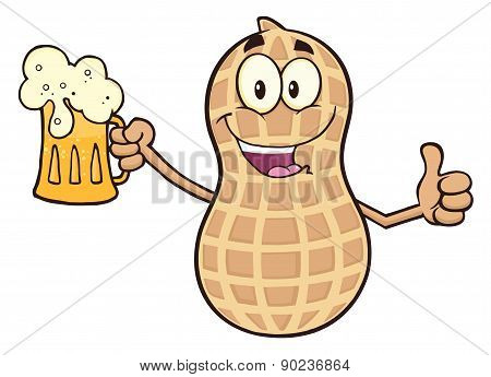 Happy Peanut Cartoon Character Holding A Beer And Thumb Up