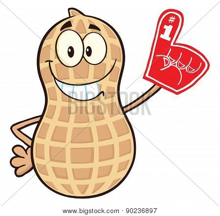 Smiling Peanut Cartoon Character Wearing A Foam Finger