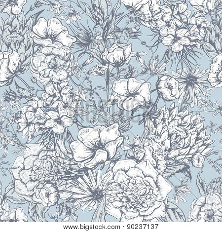 Retro Summer Seamless Monochrome Floral Pattern, Vintage Greeting Bouquet