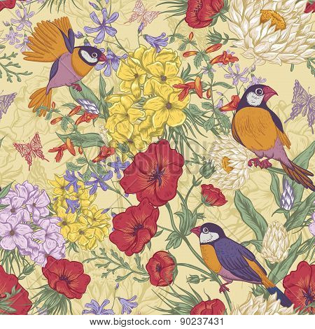 Retro Summer Seamless Floral Pattern with Birds and Butterflies