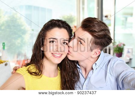 Smiling Young Couple Who Do A Selfie